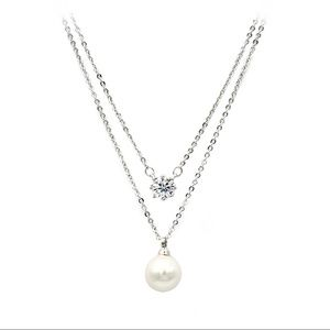 Silver double-chain crystal pearl necklace